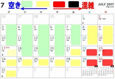 長島スパーランドプール混雑状況カレンダー2017年7月