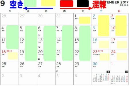 長島スパーランドプール混雑状況カレンダー2017年9月