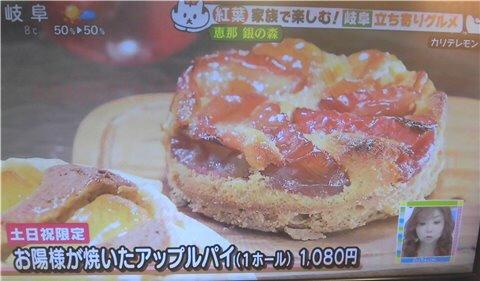 紅葉・グルメスポット「銀の杜」のお日様が焼いたアップルパイ(土日祝日限定)