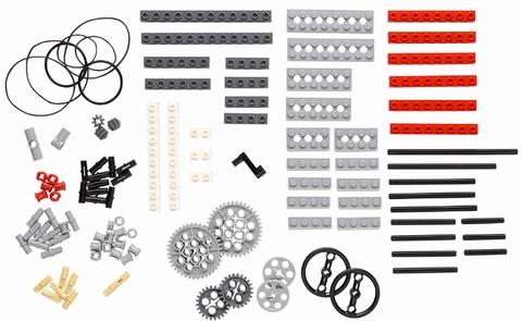 長細いレゴブロックや、歯車、歯車に差し込める棒が数種類、ハンドルや専用の輪ゴムなど