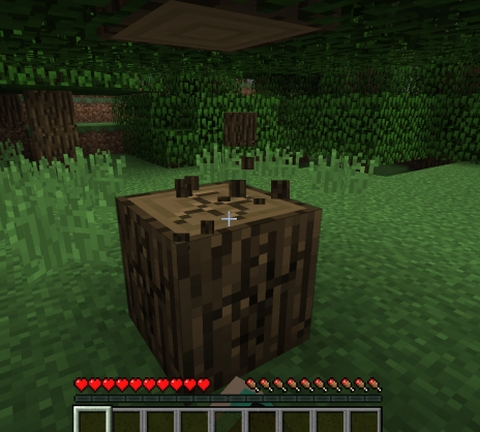 木を見つけたら、木のブロックを10個以上手に入れます。~マインクラフト
