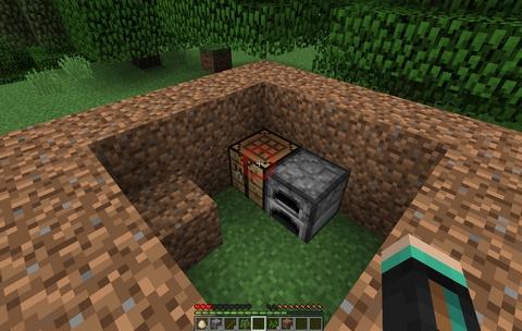 マインクラフトで平地に土ブロックでお家を作る。