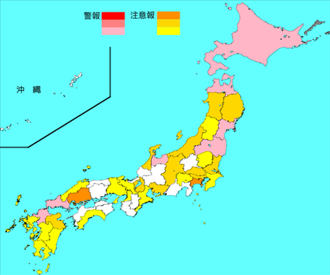 インフルエンザ流行レベルマップ2019年第49週(12月2日~12月8日)