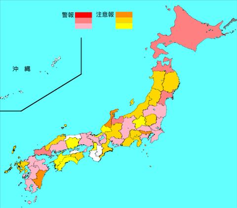 インフルエンザ流行レベルマップ2019年第50週(12月9日~12月15日)
