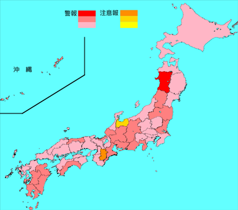 インフルエンザ流行レベルマップ2020年第03週 (1月13日~1月19日)