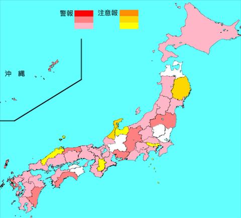 インフルエンザ流行レベルマップ2020年第06週 (2月3日~2月9日)