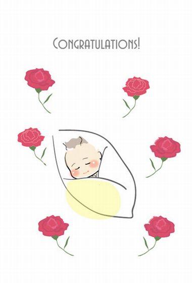 印刷素材 【出産祝い用メッセージカード】3