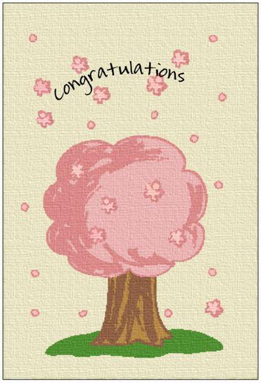 印刷素材【卒業祝い用メッセージカード】桜