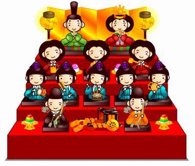 プチッチ【ひな祭りの無料イラスト画像】ひな壇