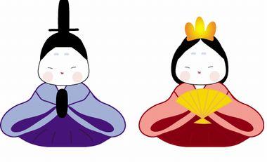 わんパグ【ひな祭りの無料イラスト画像】カラーお雛様
