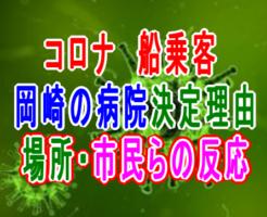 新型コロナ乗客愛知県岡崎市の病院に決まった理由や反応、藤田医科大岡崎医療センターの場所はどこ?