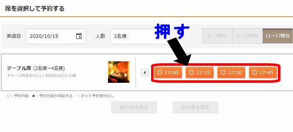 GoToEatポイントキャンペーンのオンライン飲食予約方法の流れ~希望の時間のボタンを押します。