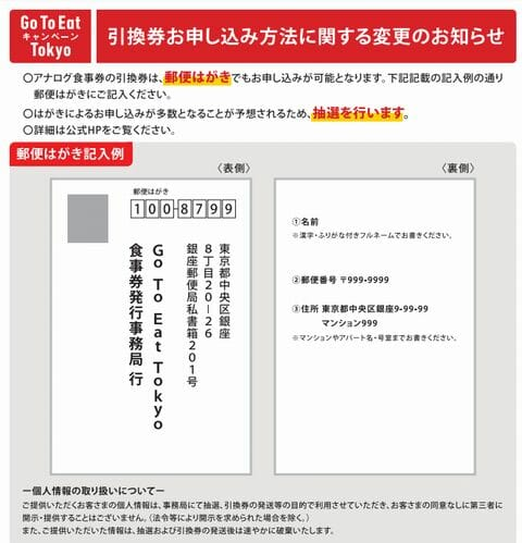 申し込みはがきの宛先と応募記入例gotoeattokyo